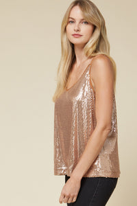 The Candice Sequin Top in Rose Gold