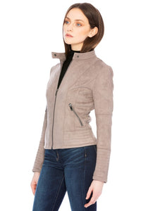 The James Suede Jacket in Taupe