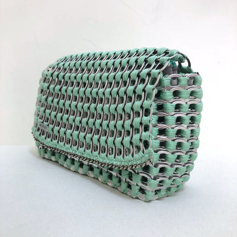 image of WYROB mint small bag upcycled from soda pop tabs, available on WOMB online shop