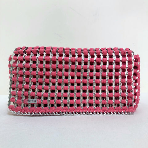 image of WYROB pink clutch upcycled from soda pop tabs, available on WOMB online shop