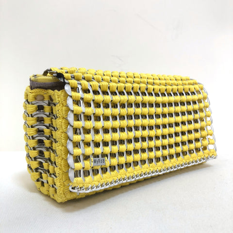 image of WYROB yellow clutch upcycled from soda pop tabs, available on WOMB online shop
