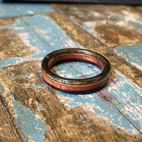 Image of wooden ring of Canadian maple wood by BoardThing made of recycled skateboards sold by WOMB Hong Kong.