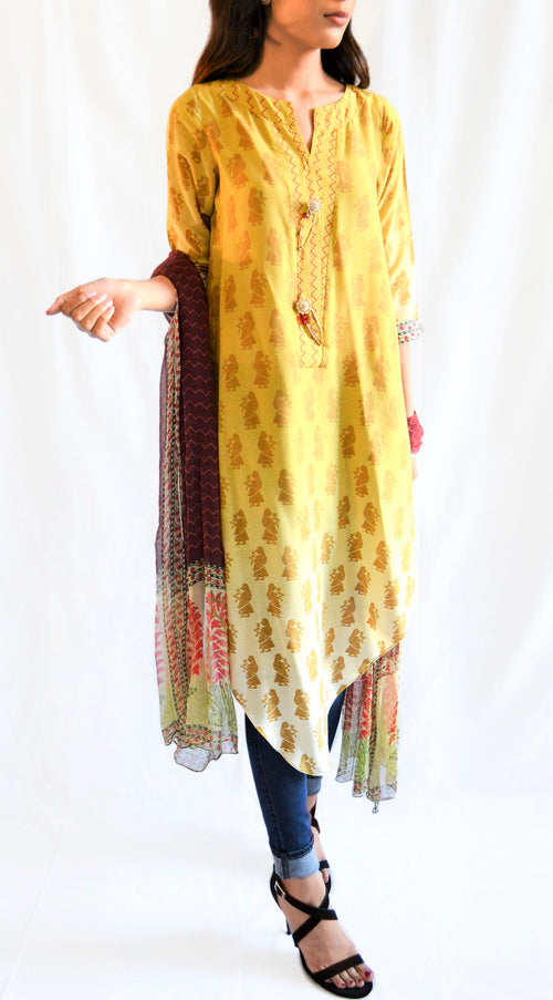 Printed long shirt with dupatta