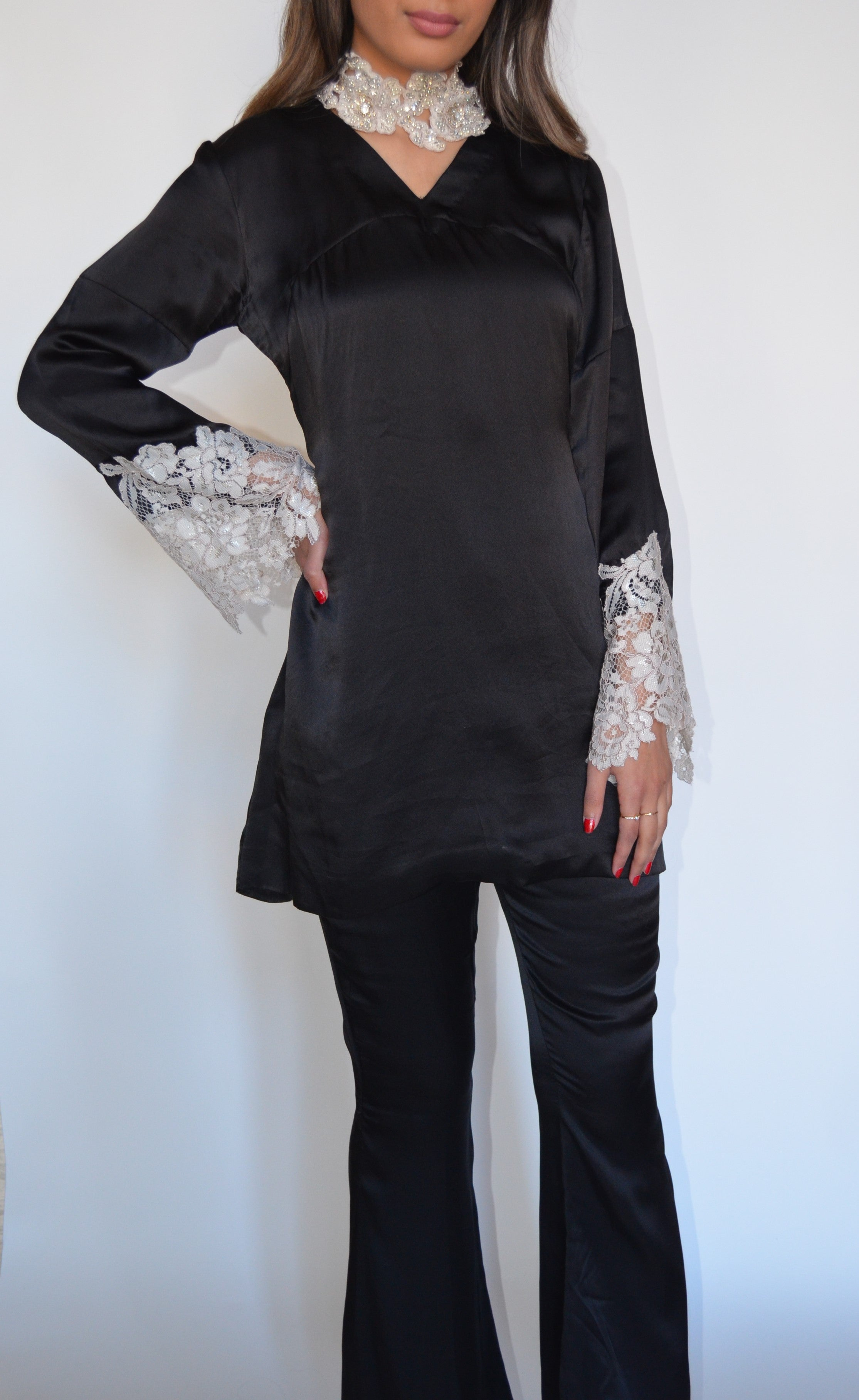 Amber Gohar Black Silk Suit