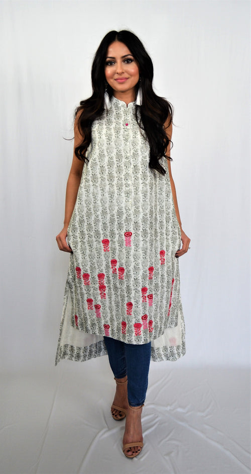 Anju Modi White Black Pink Sleeveless Kurti