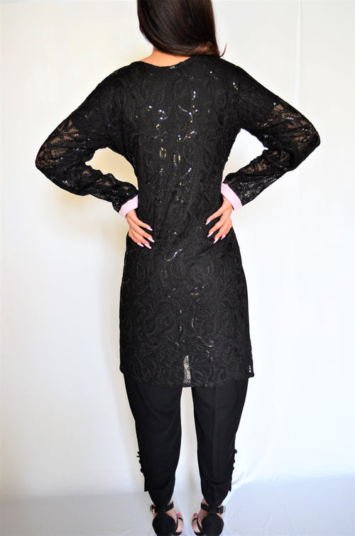 Black Sequin Two Piece Suit