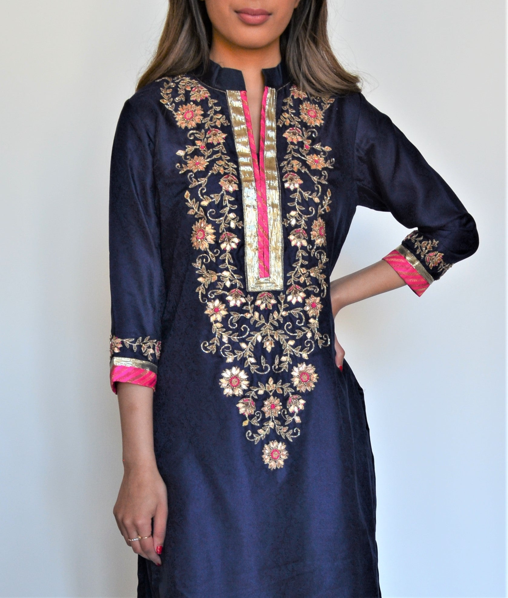 Seema Rahman Blue Silk Suit