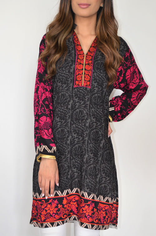 Sana Safinaz Black and Red Kurti