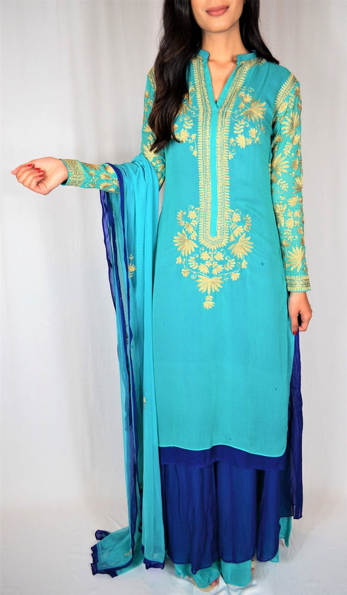 Desi kurta dupatta with culotte pants