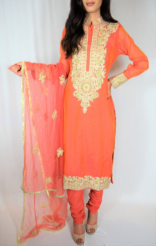 Long kurti with churidar pants and dupatta