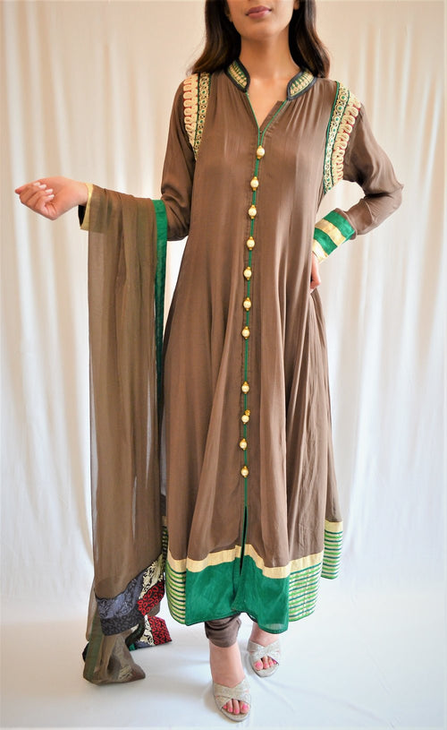 Front open pishwas frock with churidar pajama and dupatta