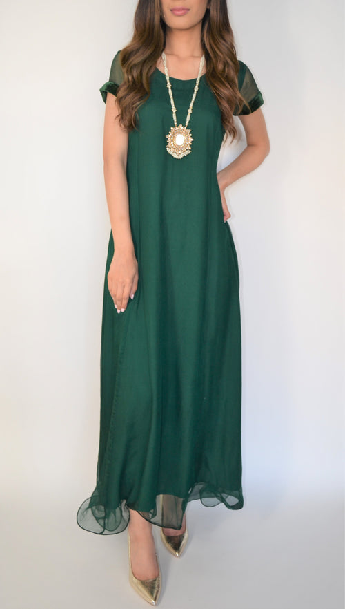Subeena Z Forest Green Dress