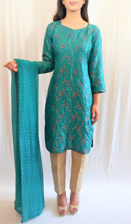 Formal kurti with straight pants and dupatta