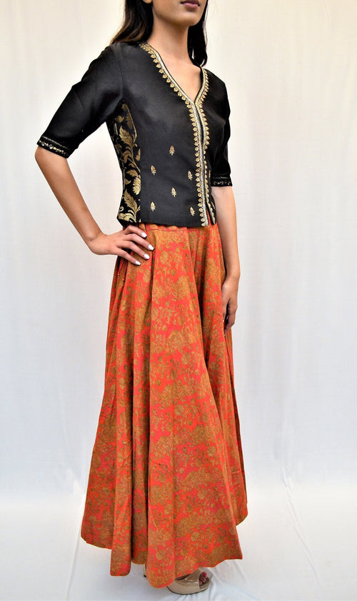 Silk blouse and sharara pants