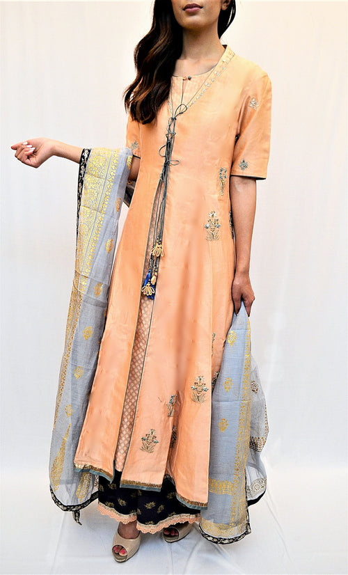 half sleeve front open kurti with dupatta