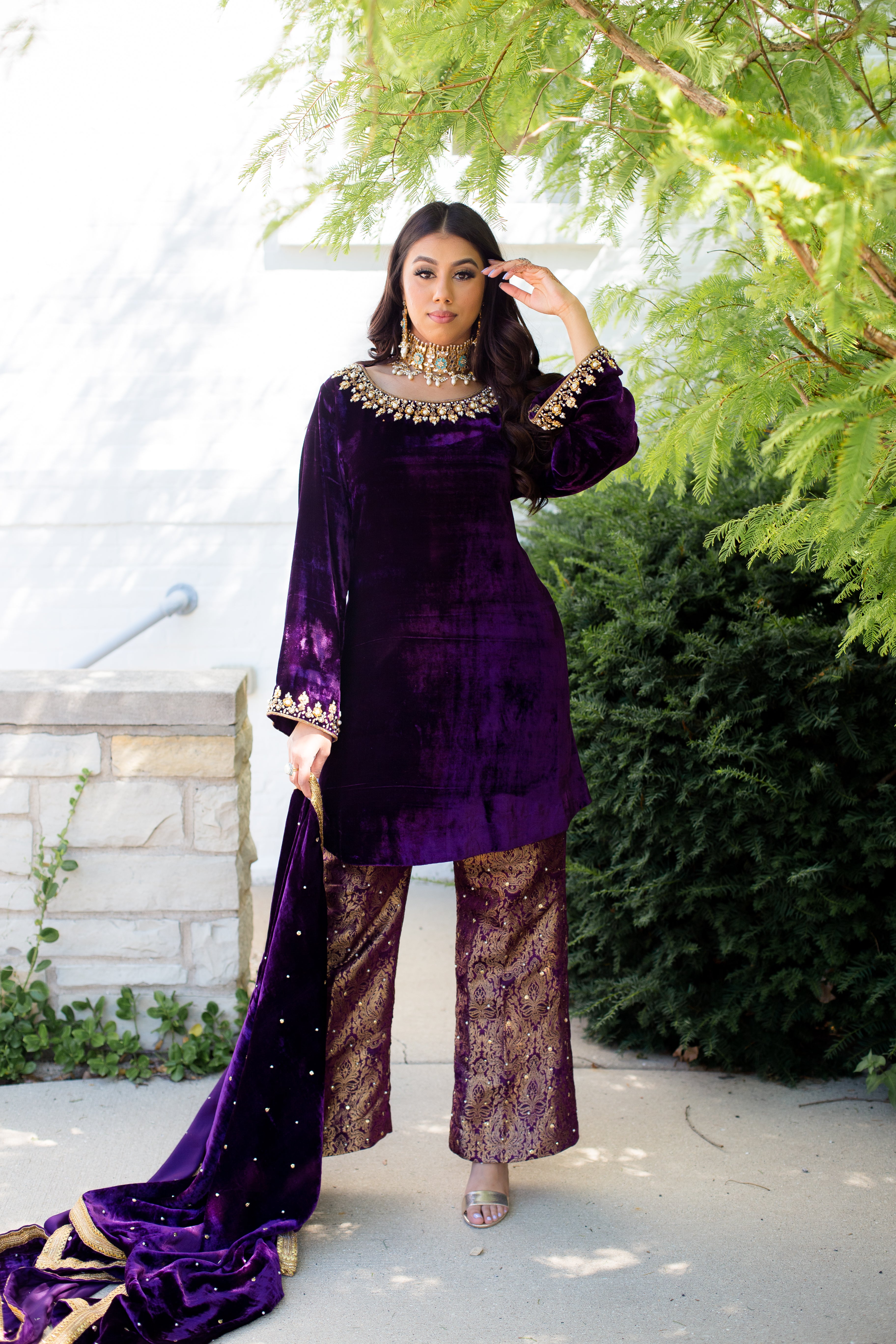 Lena B Velvet and Brocade Pearl Sharara