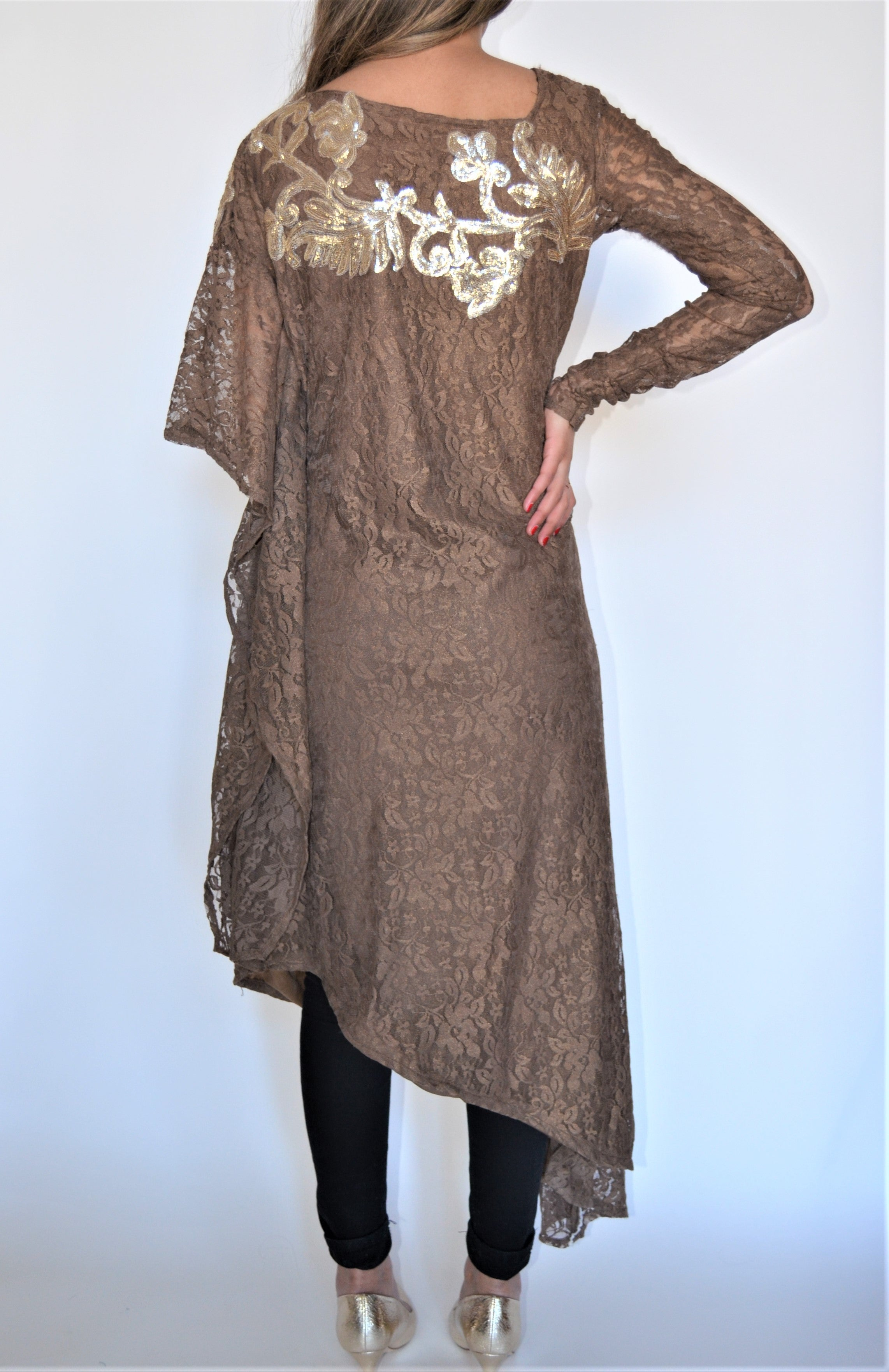 Iqra and Zainab Bronze Shimmer Tunic