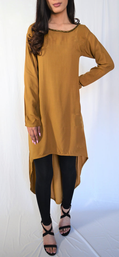 Damaan Mustard High Low Kurti
