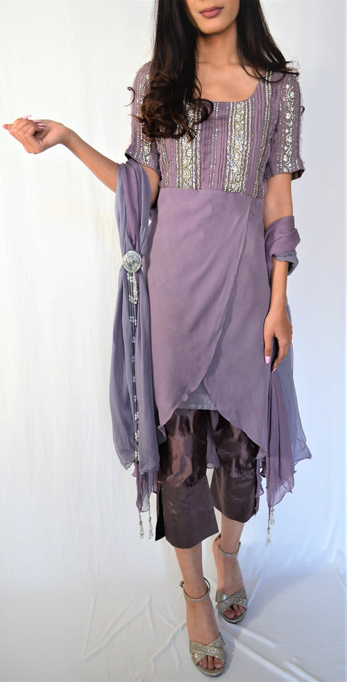 Sadia Tariq Pastel Purple Suit