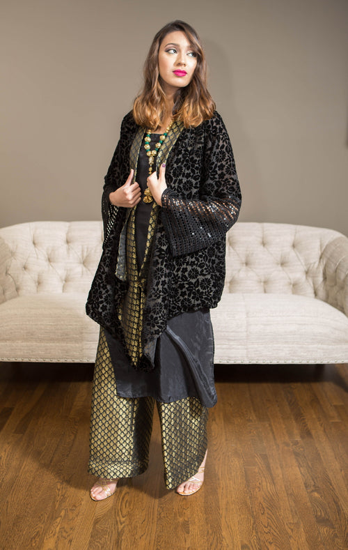 Formal coat with banarsi shirt and pants