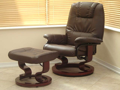 Electric Adjustable Leather Sofa Recliner Chair With Stool