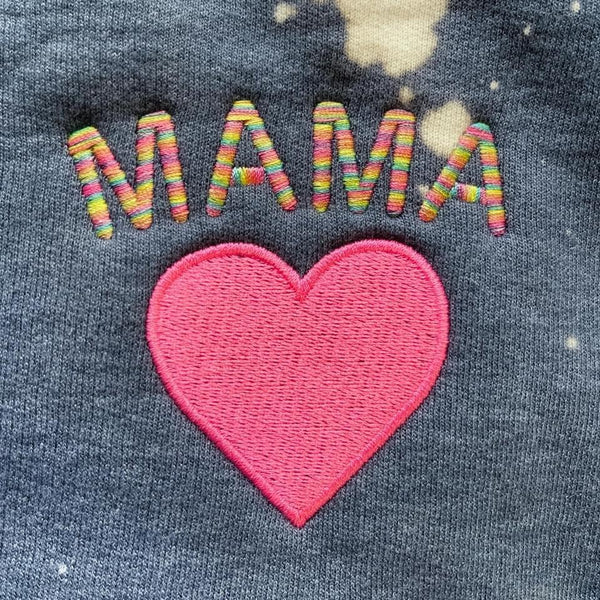 Mama Embroidered Bleached Sweatshirt