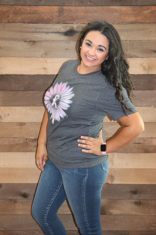 Breast Cancer Sunflower Graphic Tee