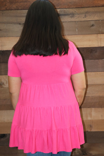 Jolene Baby doll Top  - Hot Pink