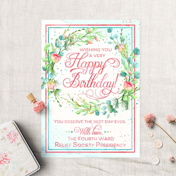 Relief Society Custom Birthday Card | LDS Relief Society Wreath Custom Card
