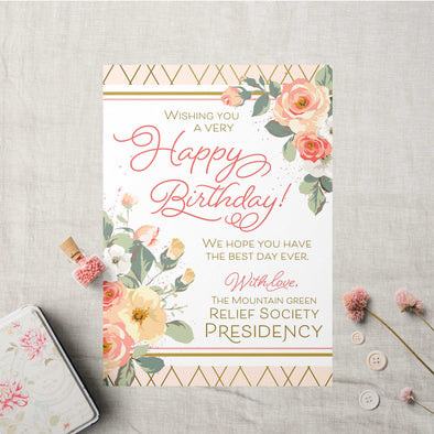 Relief Society Custom Birthday Card | LDS Relief Society Rose Custom Card