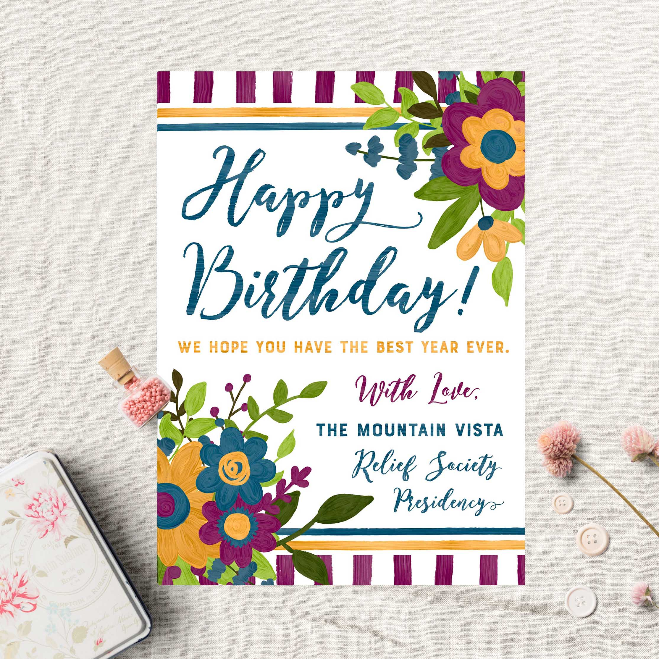 Relief Society Custom Birthday Card Lds Relief Society Floral Custom Ministering Printables
