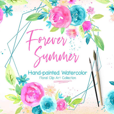 Forever Summer Watercolor Floral Design Clip Art