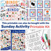 Sunday Bingo Printable Game