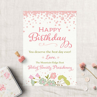 Relief Society Custom Birthday Card | LDS Relief Society Card