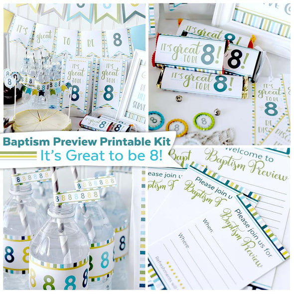 Baptism Preview Kit | It's Great To Be 8 Printables | LDS Baptism Printable Kit
