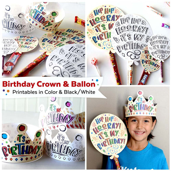 Birthday Crown and Balloon | Birthday Crown Balloon for Preschool Kids | Instant Download