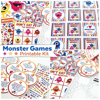 Monster Games Printable Kit | Printable Downloads Kids Games & Activities Monsters