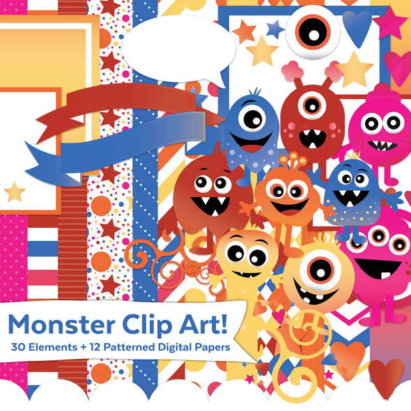 Monster Clip Art | Monster Illustrations | Monster Digital Kit | Digital Scrapbooking Kit | Digital Papers | Commercial Use Okay Graphics