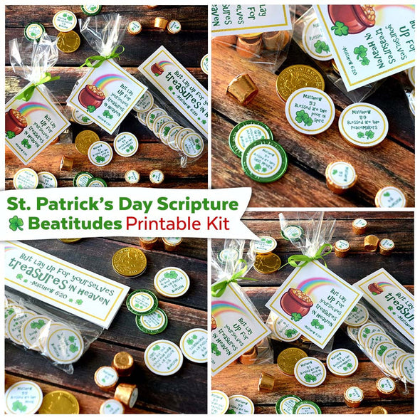 St. Patrick's Day Scripture Beatitudes Printable Kit | Christian St. Patrick's Day Kid Activity | St. Patrick's Day Scipture Family Game