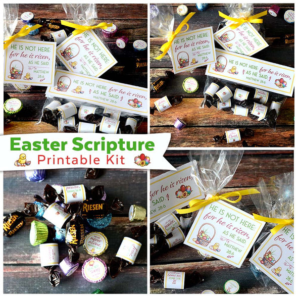 Easter Scripture Printable Kit | Christian Bible Easter Kid Activity | Easter Scripture Family Game