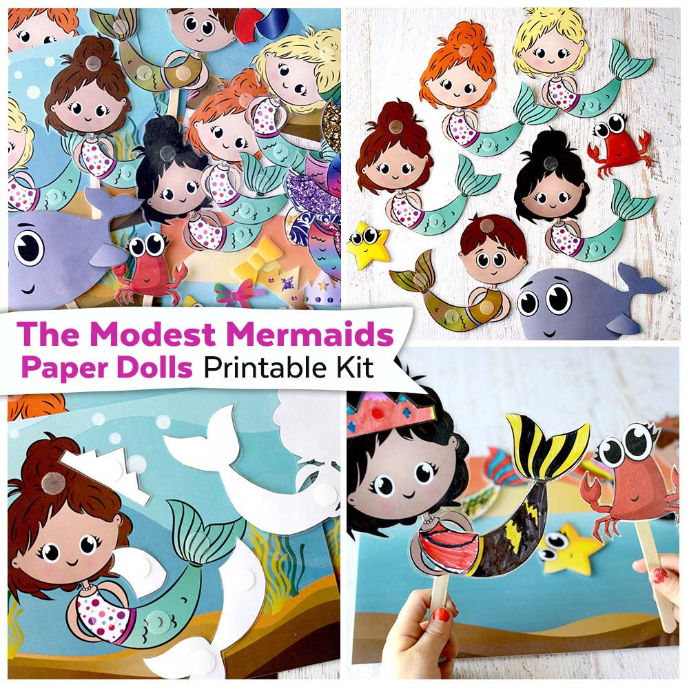 The Modest Mermaids Paper Dolls Printable Kit Mermaid Paper Dolls