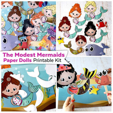 The Modest Mermaids Paper Dolls Printable Kit | Mermaid Paper Dolls Digital Download