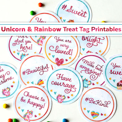 Unicorn & Rainbow Treat Tag Printables | Unicorn Printable | Unicorn Gift Idea