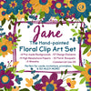 Painted Watercolor Floral Clip Art | Pre-Made Floral Invitations Backgrounds | Free Commercial Use Flower Floral Clip Art