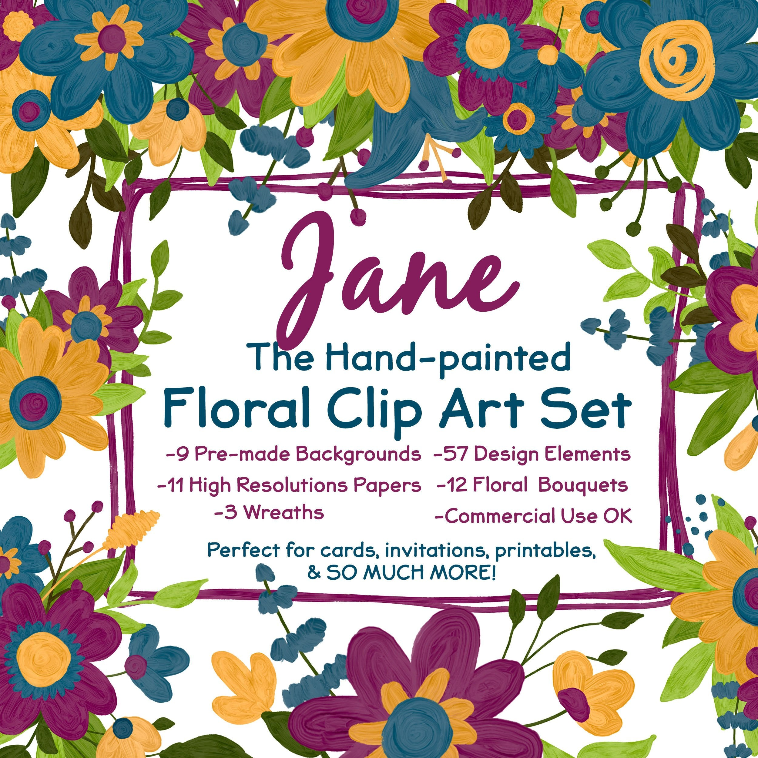 Painted Watercolor Floral Clip Art Pre Made Floral Invitations