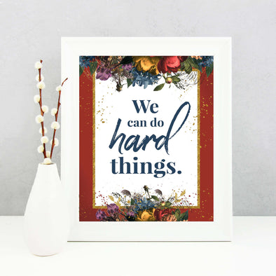 We Can Do Hard Things Inspirational Poster Printable {Red} | Mutual 2019 Young Women Printable | Instant Digital Download