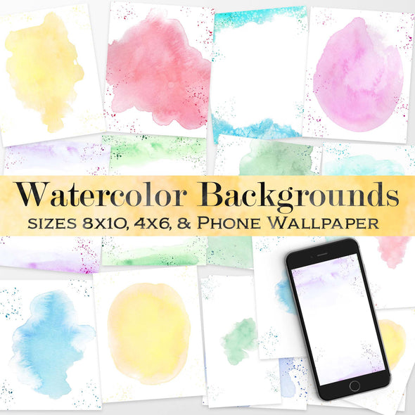 Watercolor Backgrounds | Pre-made Watercolor Templates