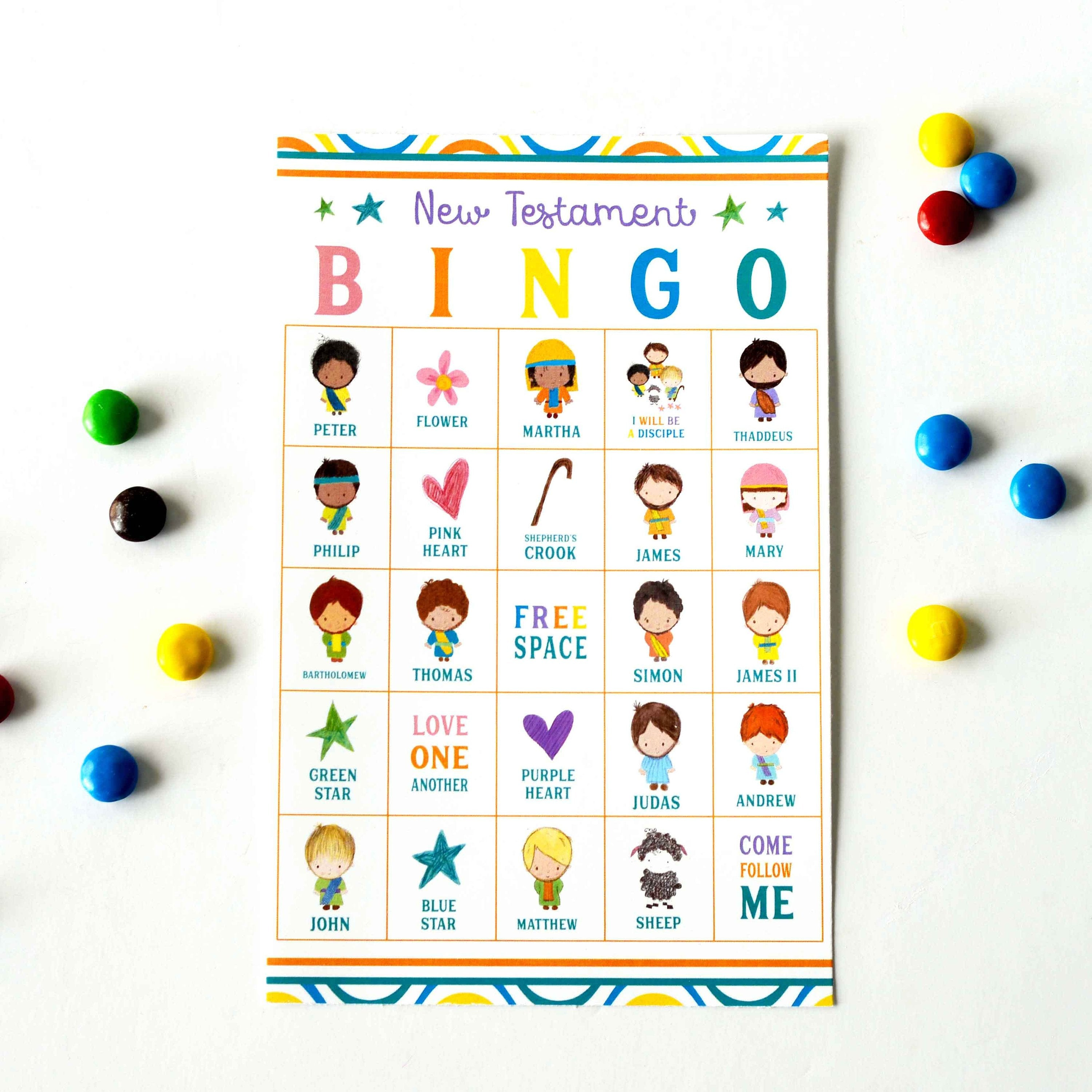 image regarding Bible Bingo Printable titled Fresh new Testomony BINGO Printable Activity Bible Recreation for Little ones