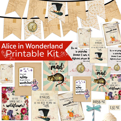Alice in Wonderland Printable Kit | Alice in Wonderland Party Event | Alice in Wonderland Quote Printables | Alice in Wonderland Party