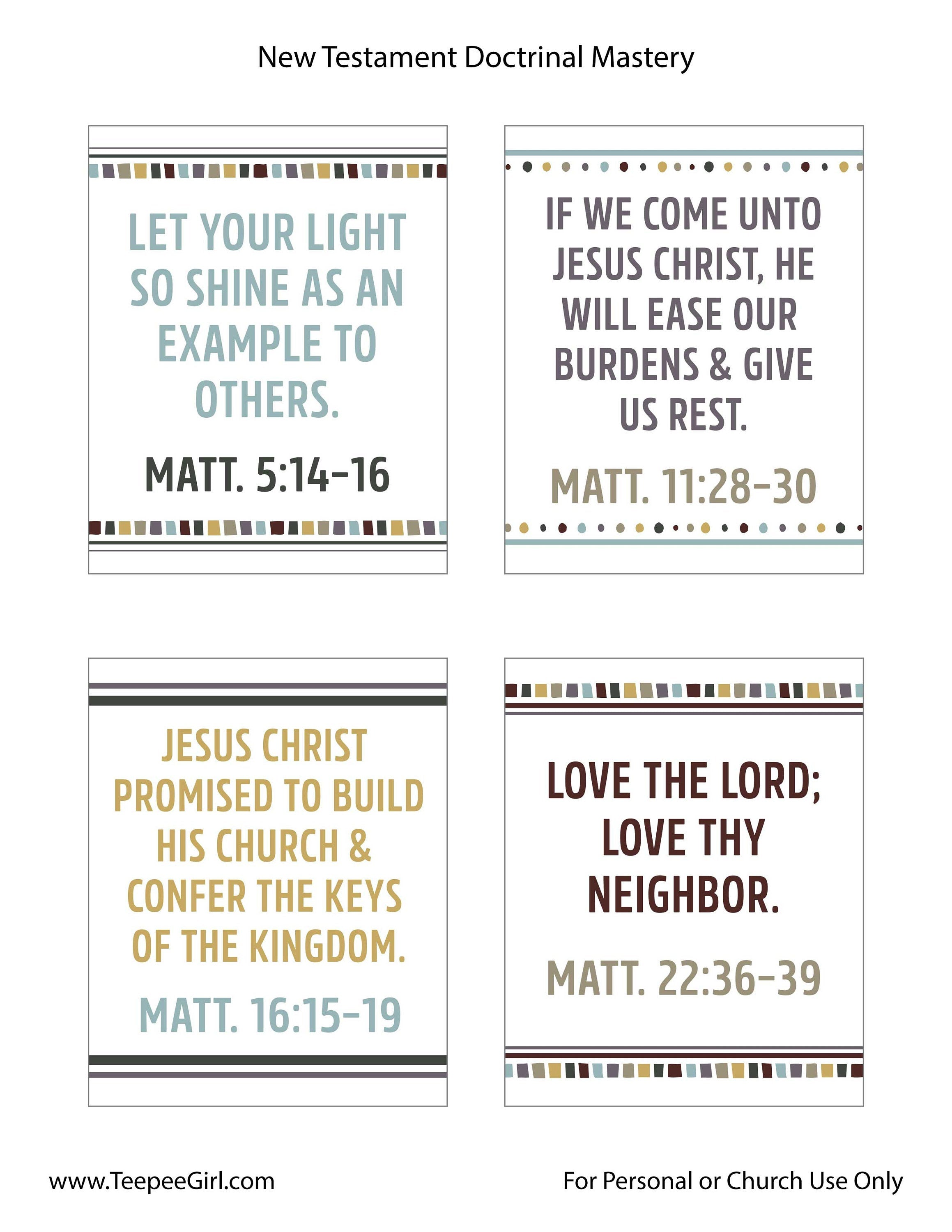 New Testament Seminary Doctrinal Mastery Posters | LDS